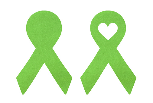 Green ribbons set: blank one, that can be used for your text message and with love heart inside.