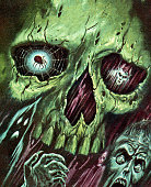 Green Skull With Monsters and Zombies