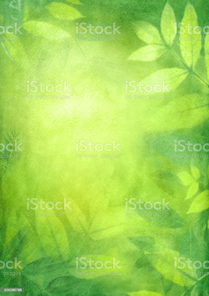 green spring watercolor background vector art illustration