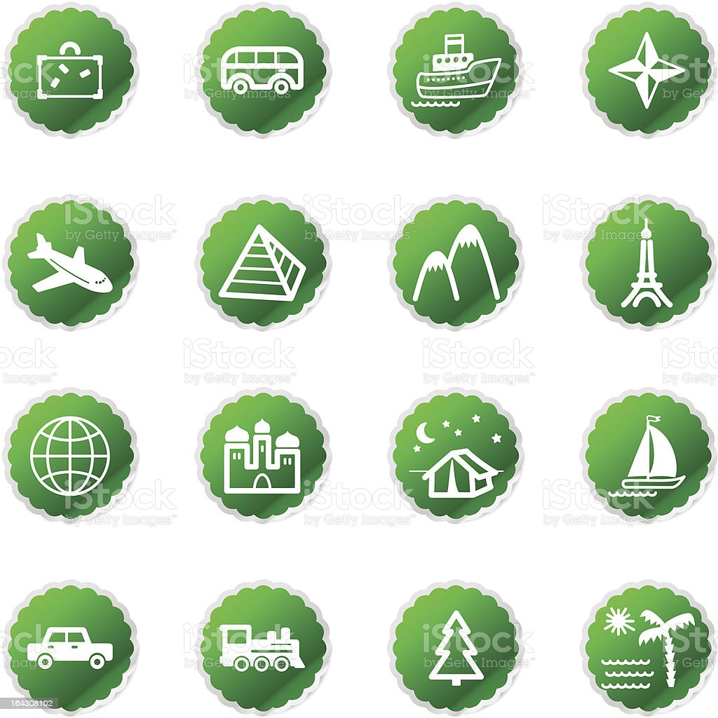 green sticker travel icons royalty-free stock vector art