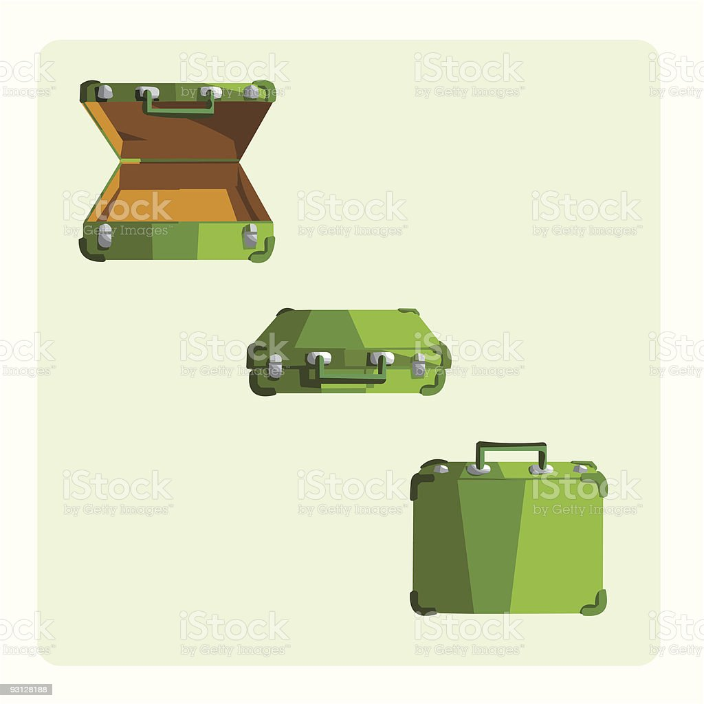 green suitcase (business) vector art illustration