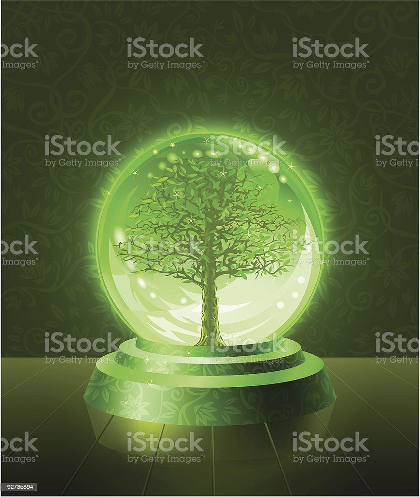 Green tree seen inside the crystal ball - Royalty-free Cartoon stock vector