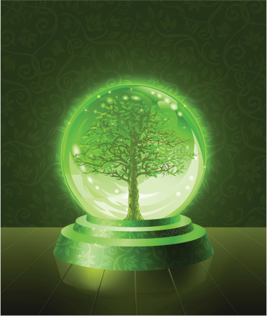 Green Tree Seen Inside The Crystal Ball Stock Illustration - Download Image Now