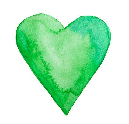 Green watercolor heart.