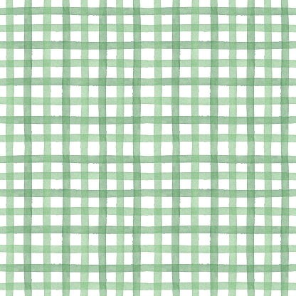 Green watercolor seamless checkered pattern. Vertical and horizontal crossed stripes background. Monochrome backdrop. Rustic tablecloth, traditional checkered texture.