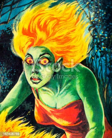 Green Woman With Flame Hair