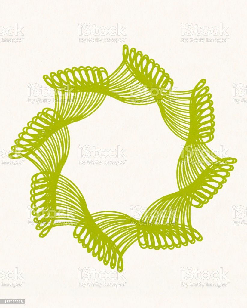 Green Wreath Shape Line Drawing royalty-free stock vector art