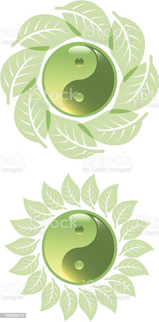 Green yin yang vector art illustration