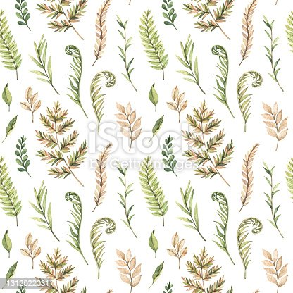 istock Greenery watercolor seamless pattern. Botanical background with green branches, leaves and fern illustrations. Floral Design. Perfect for invitations, wrapping paper, textile, fabric, poster, packing 1312022031