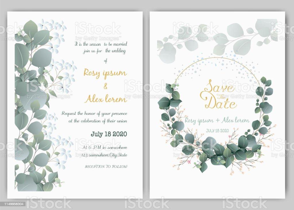 greenery wedding invitation template eucalyptus wedding. Black Bedroom Furniture Sets. Home Design Ideas