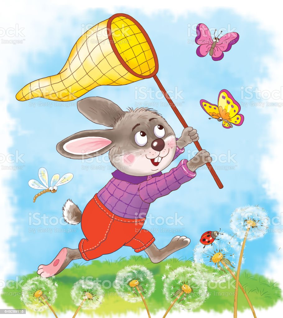 Greeting card for easter a cute rabbit catching butterflies greeting card for easter a cute rabbit catching butterflies illustration for children cartoon kristyandbryce Gallery