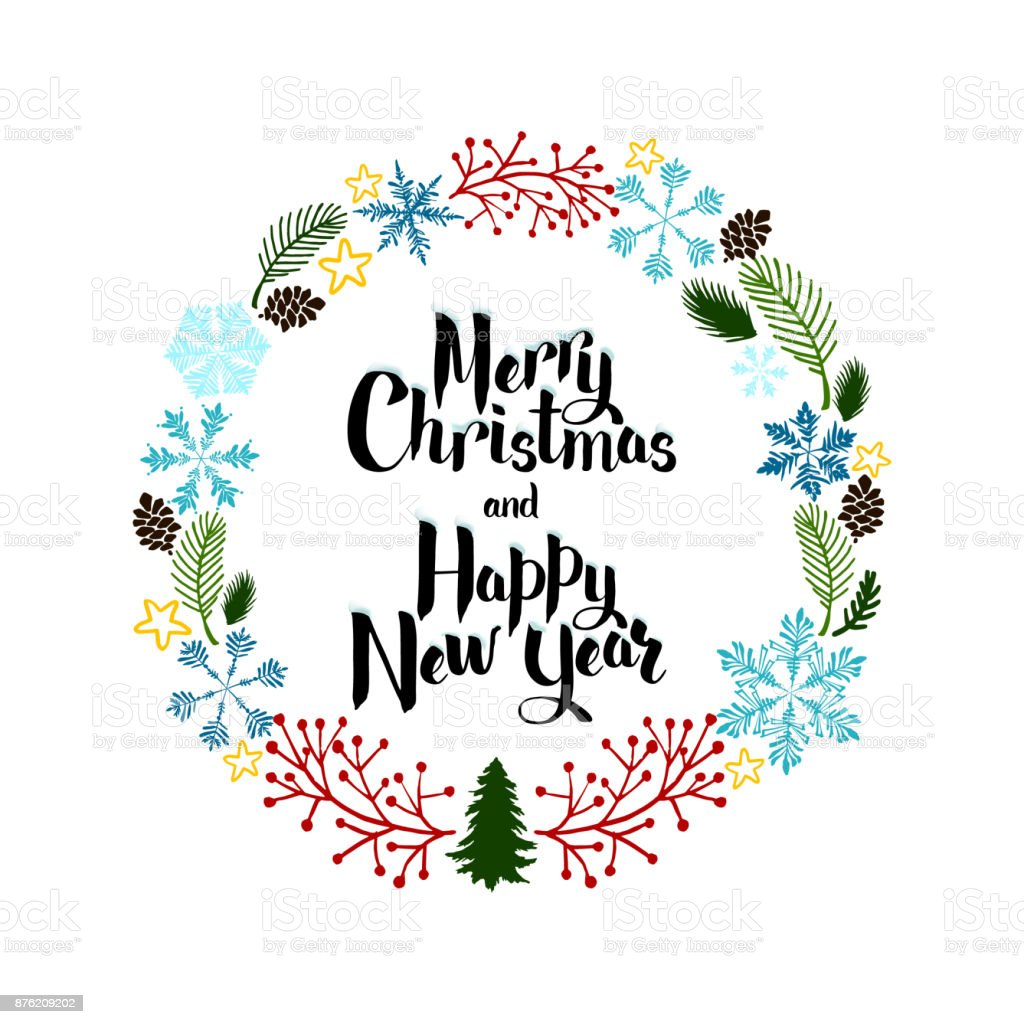 Greeting Card Happy New Year And Merry Christmas Decorative New ...
