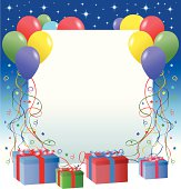 illustration of Greeting Card with balloon and ribbon for your design and products.
