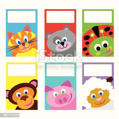 Set of 6  vector illustration small greeting cards.  The theme is cartoon style animals.