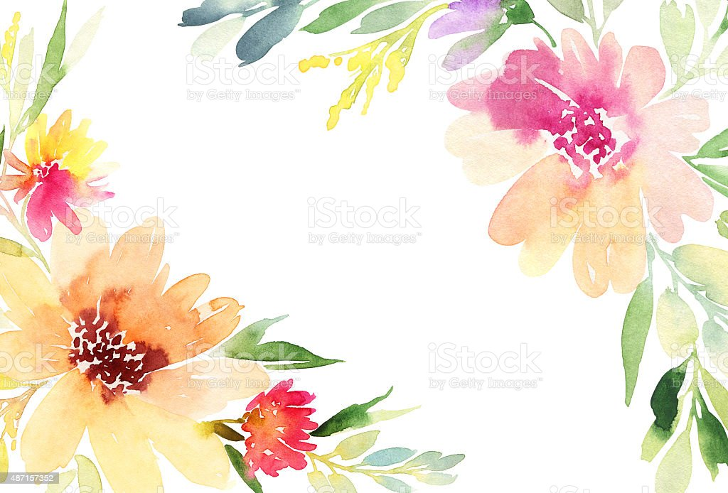 Greeting Card Watercolor Flowers Background Stock Vector