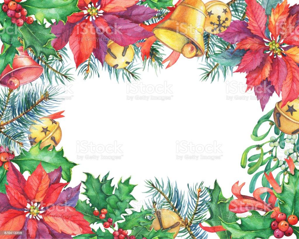 Yılbaşı Ağacı Yılbaşı çiçeği Holly Bell Ile Tebrik Kartı Noel