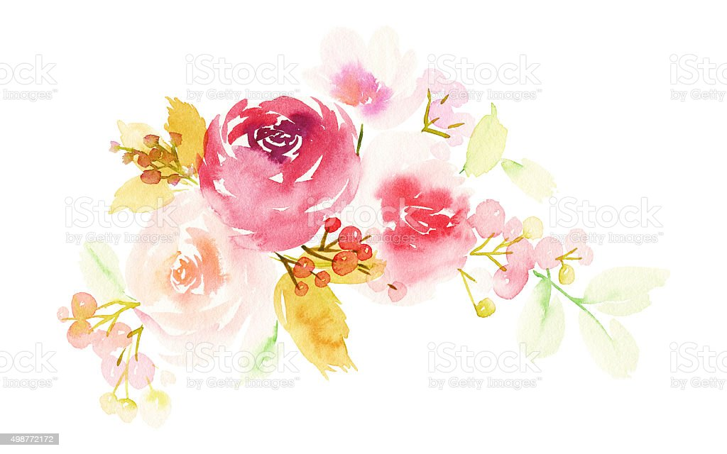 Cartão de saudação com flores. Tons pastéis. Feitos à mão. Aquarela - ilustração de arte em vetor