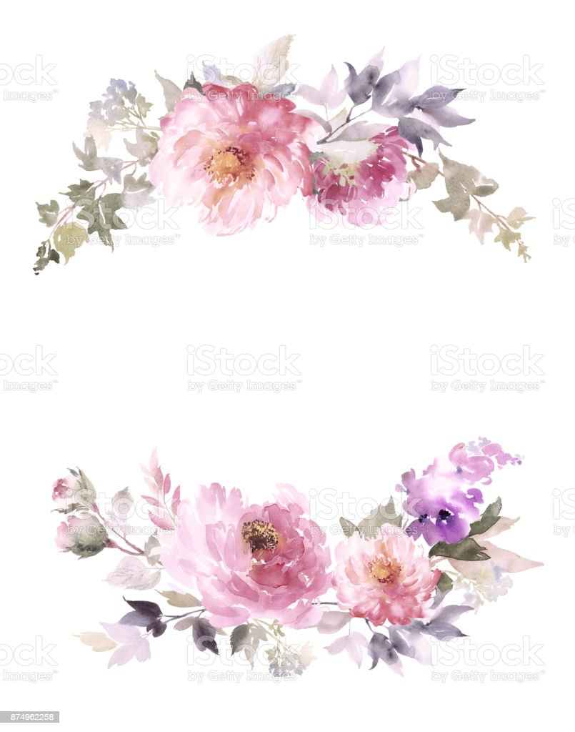 Greeting card with peonies watercolor painting. vector art illustration