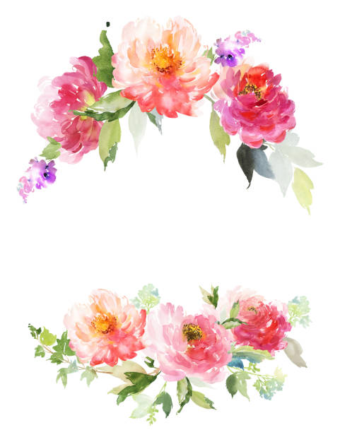 greeting card with peonies watercolor painting. - bachelorette party stock illustrations, clip art, cartoons, & icons