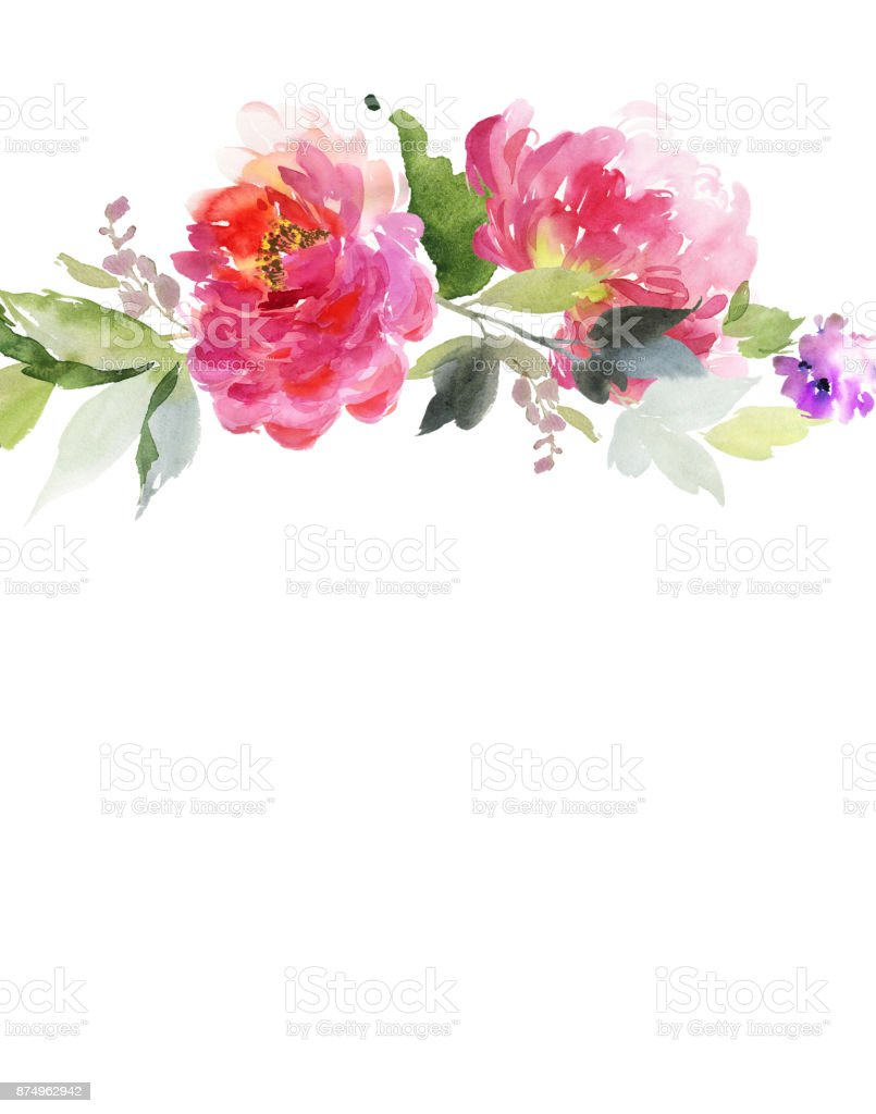 Greeting card with peonies watercolor painting stock vector art greeting card with peonies watercolor painting royalty free greeting card with peonies watercolor painting m4hsunfo
