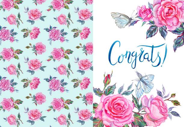 illustrazioni stock, clip art, cartoni animati e icone di tendenza di greeting card with pink roses - farfalla ramo