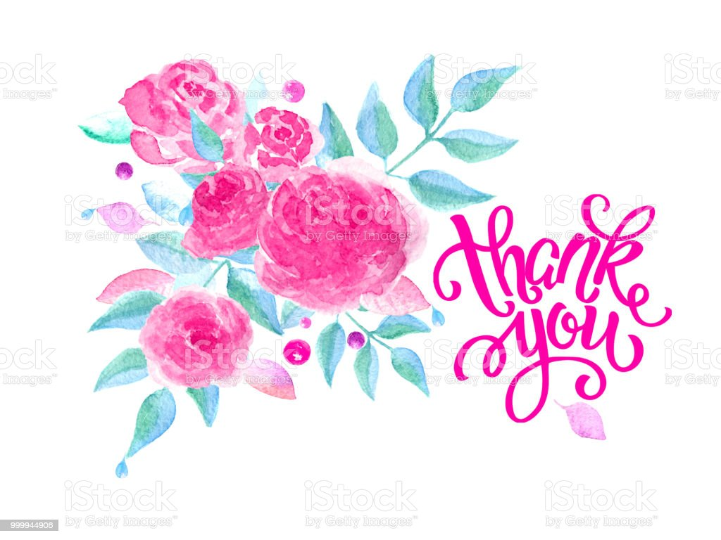Greeting Card With Roses Handwritten Note Thank You Stock Vector Art