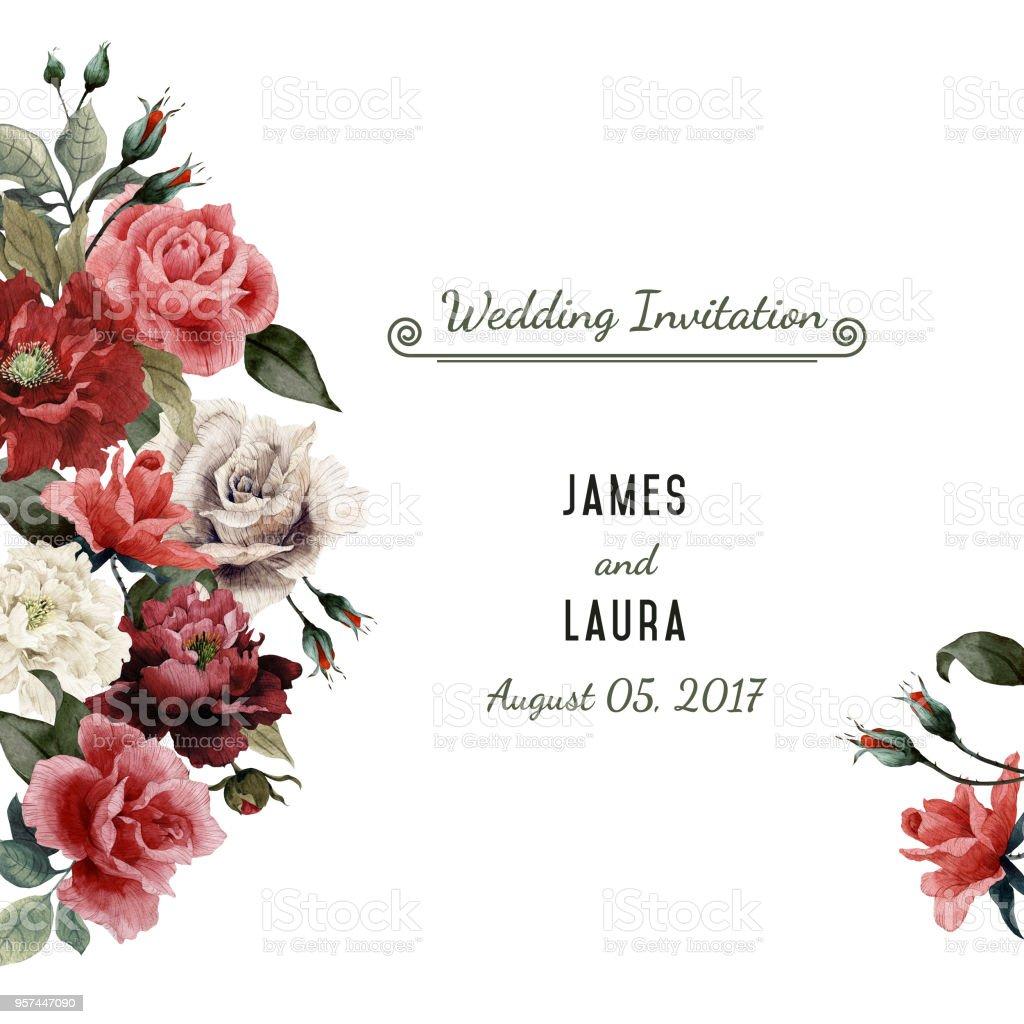 d4ed377a3bcf Gratulationskort med rosor, akvarell, kan användas som inbjudningskort för  bröllop, födelsedag och andra