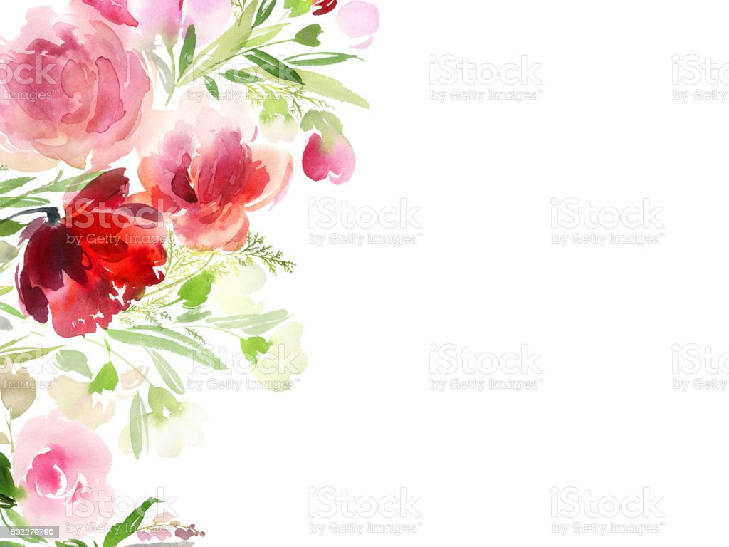Greeting card with watercolor flowers handmade vector art illustration