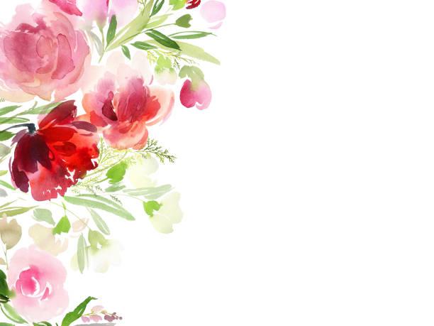 ilustraciones, imágenes clip art, dibujos animados e iconos de stock de tarjeta de felicitación con flores acuarela hecha a mano - día de la madre