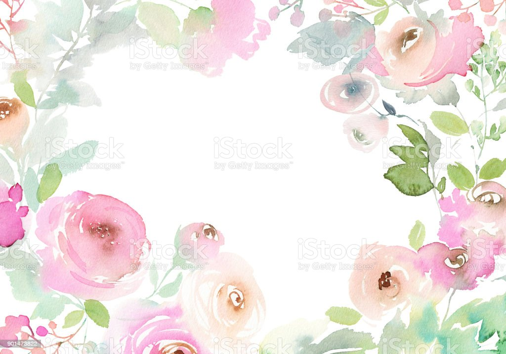 Greeting card with watercolor flowers handmade royalty-free greeting card with watercolor flowers handmade stock vector art & more images of art