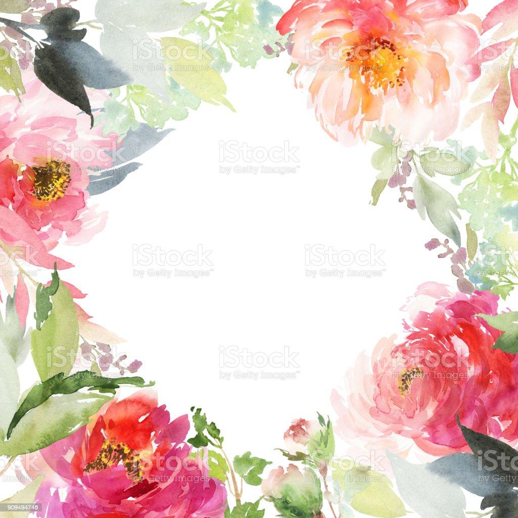 Carte de voeux avec aquarelles fleurs à la main - Illustration vectorielle