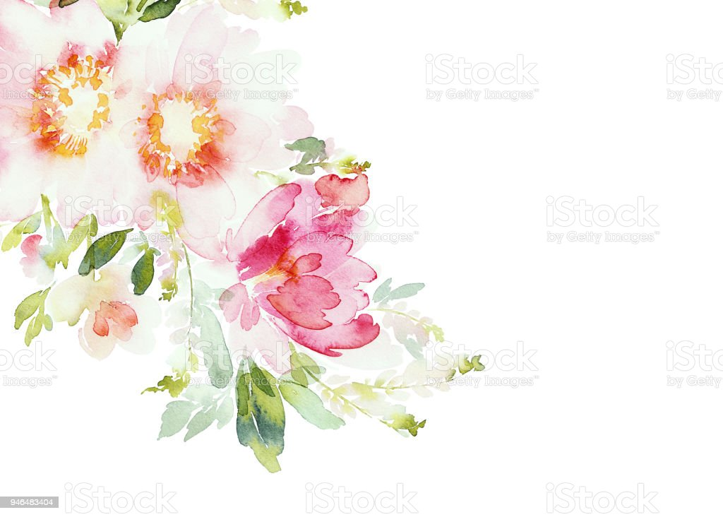 Greeting card with watercolor flowers handmade - Royalty-free Art stock illustration