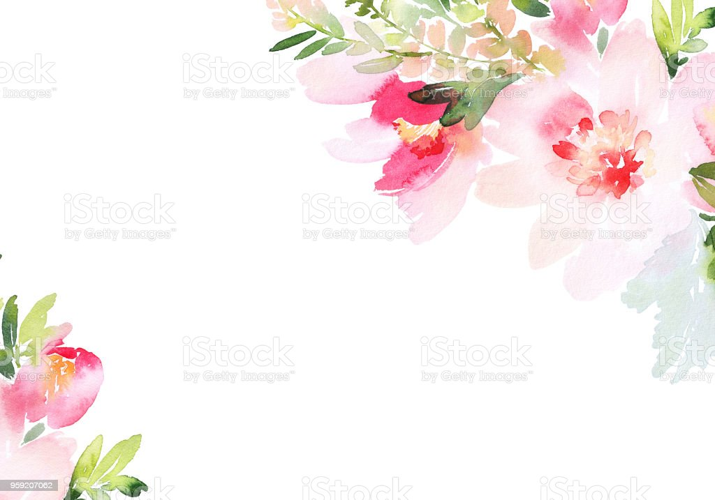Greeting card with watercolor flowers handmade royalty-free greeting card with watercolor flowers handmade stock illustration - download image now