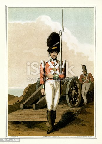 Vintage colour engraving of a Grenadier of the First West Yorkshire Militia. The Costume of Yorkshire by George Walker. 1815