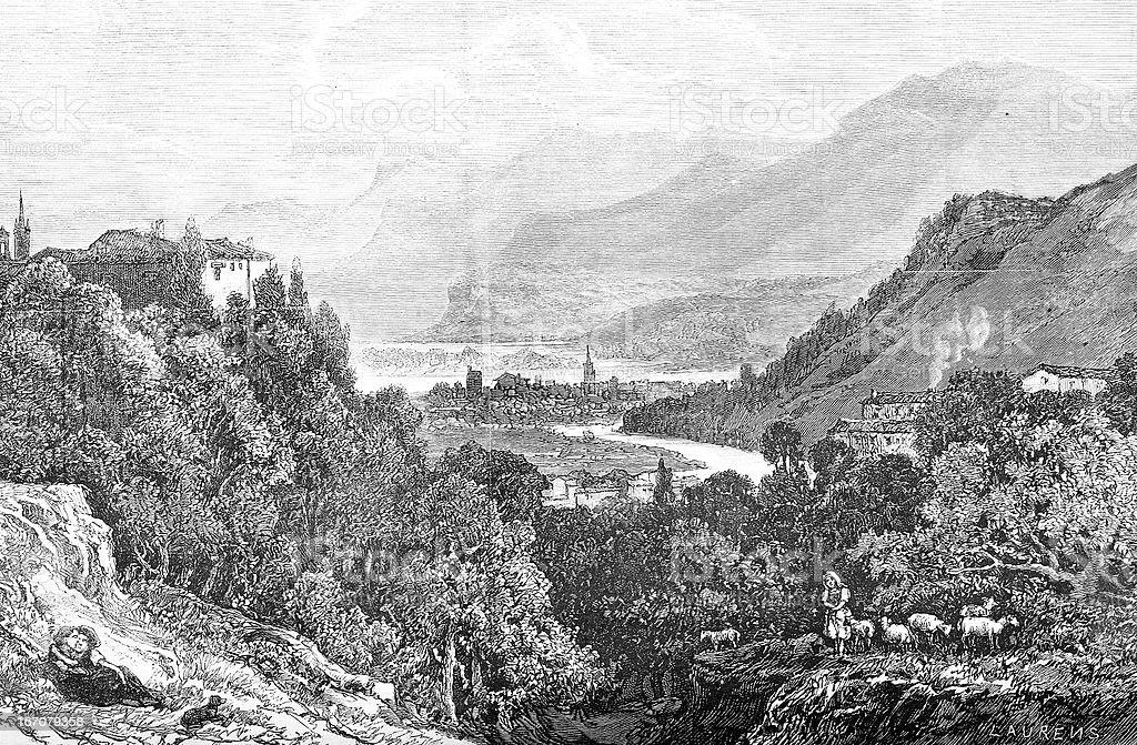 Gresivaudan valley landscape royalty-free gresivaudan valley landscape stock vector art & more images of 19th century style