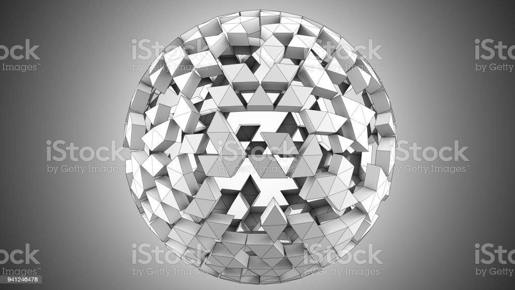 Grey polygonal spherical shape 3D render vector art illustration