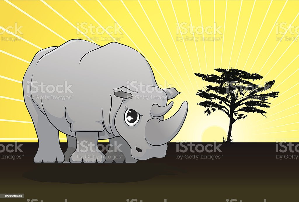 Grey Rhino royalty-free stock vector art