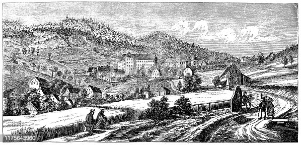 Illustration of a Gräfenberg is a Franconian town in the district of Forchheim, in Bavaria, Germany