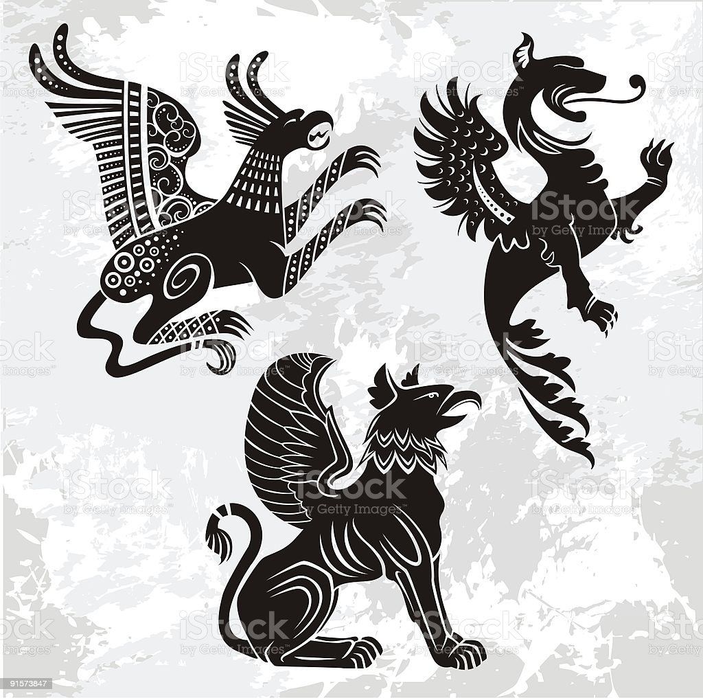 griffins set royalty-free stock vector art