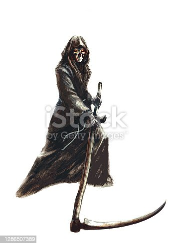 istock grim reaper in a hood with a scythe, on a white background - fantasy illustration 1286507389