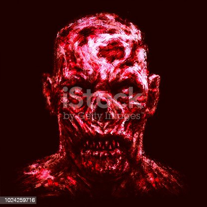 Grim zombie apocalyptic face. Horror genre. Red background color.