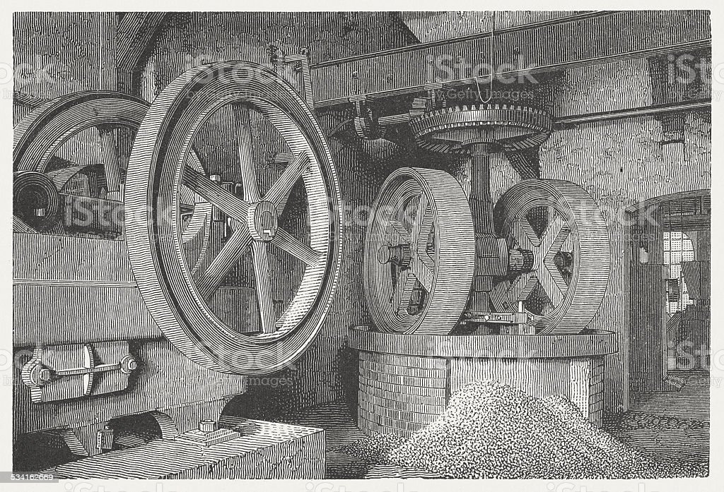 Grinding mill: crusher, wood engraving, published in 1882 vector art illustration