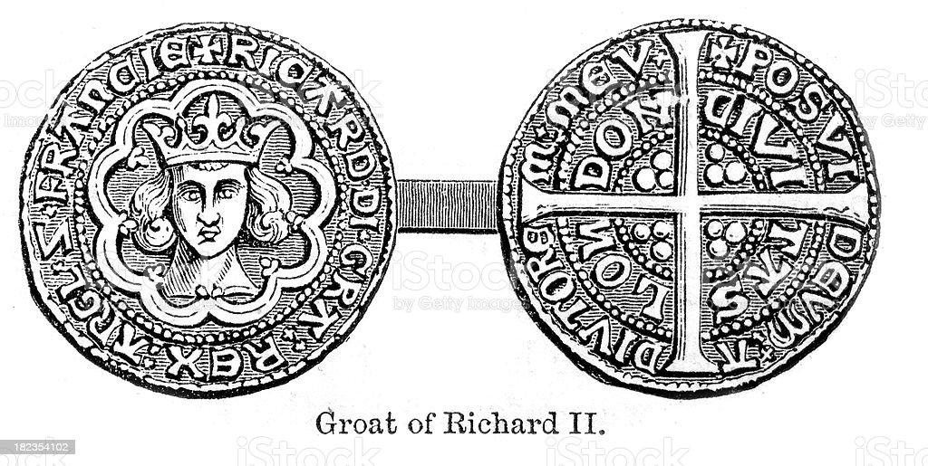 Groat of Richard II - Old Coin vector art illustration