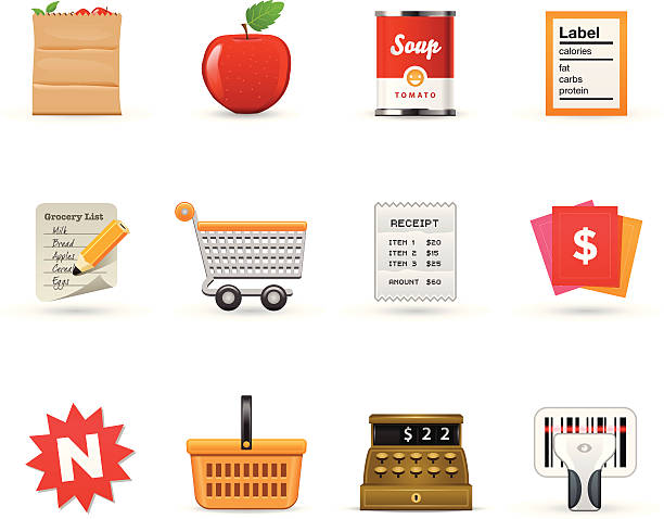 Grocery Icons  |   Satin Series  shopping list stock illustrations