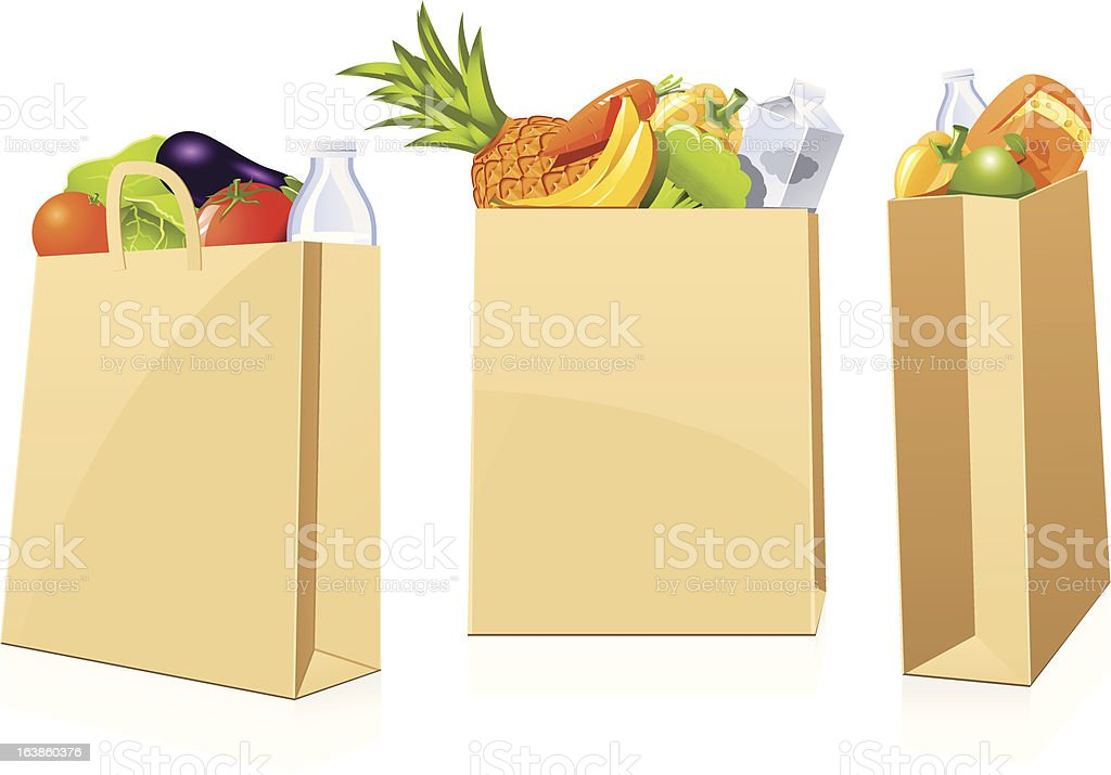 Grocery shopping bags vector art illustration