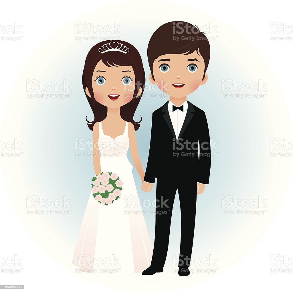Groom and bride vector art illustration
