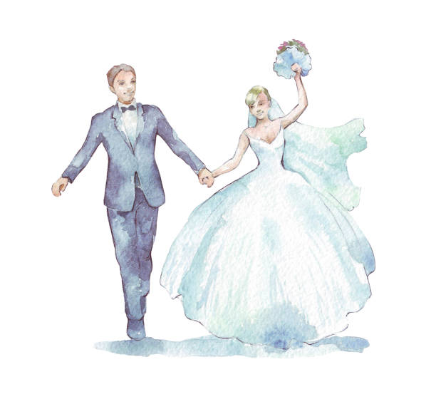 Groom and bride on white Groom and bride on white watercolor illustration bridegroom stock illustrations