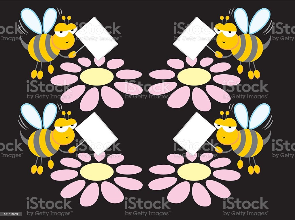 Groovy Bee Guide & Flowers royalty-free stock vector art