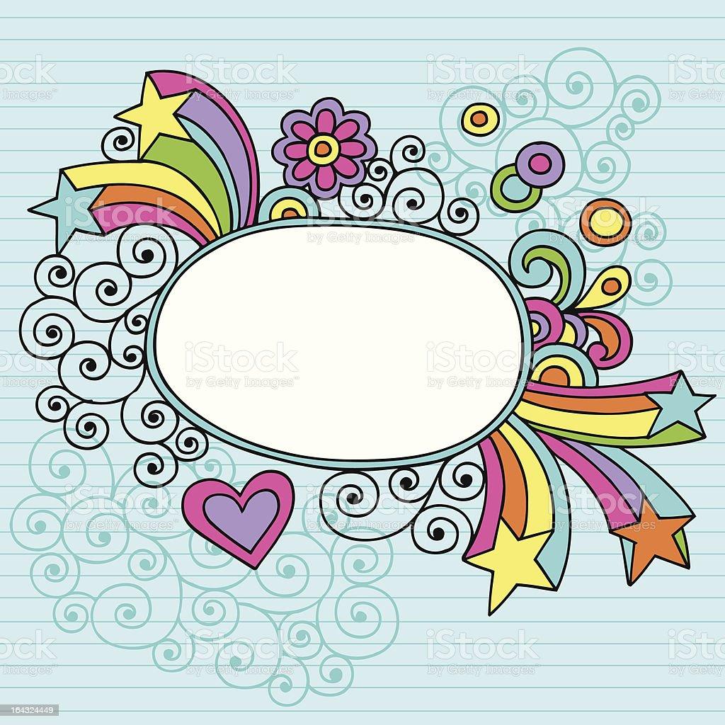 Groovy Oval Notebook Doodle Frame vector art illustration