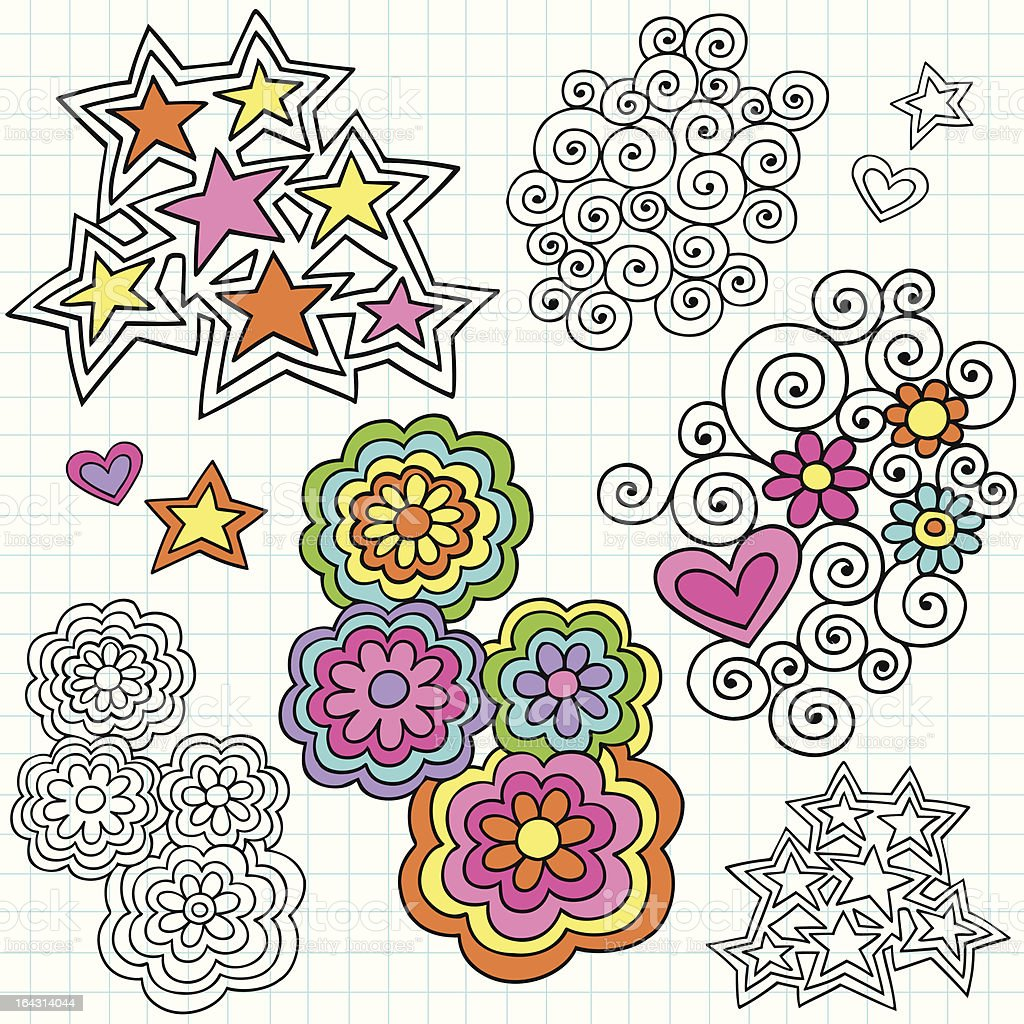 Groovy Psychedelic Notebook Doodle Design Elements royalty-free stock vector art